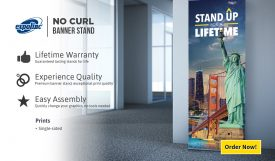 Overnight Expolic No Curl L Banner with Stand