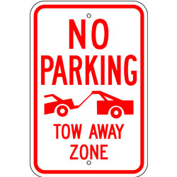 No Parking Tow Away Zone, Tow Truck Symbol Sign