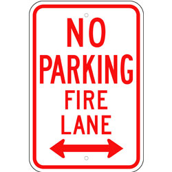 No Parking Fire Lane Sign, with Arrow