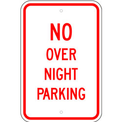 No Over Night Parking Sign