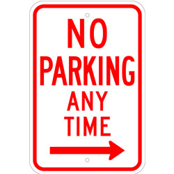 No Parking Any Time Sign, with Right Arrow