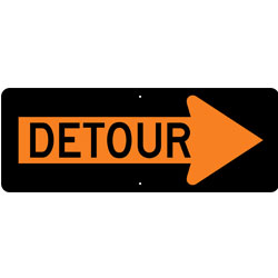 Detour inside Right Arrow Sign