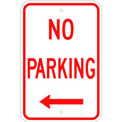 No Parking Sign, with Left Arrow