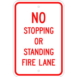 No Stopping or Standing Fire Lane Sign