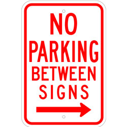 No Parking Between Signs, with Right Arrow
