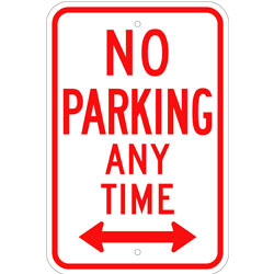 No Parking Any Time Sign, with Arrow