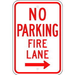 No Parking Fire Lane Sign, with Right Arrow