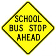 School Bus Stop Ahead Sign – Yellow